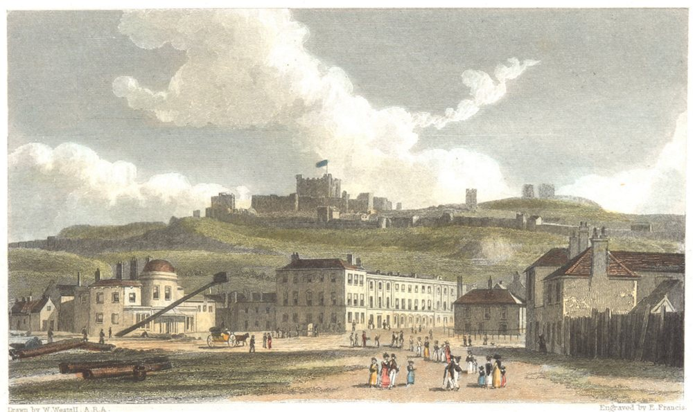Associate Product KENT. Dover Hand coloured. Many figures (Westall) c1833 old antique print