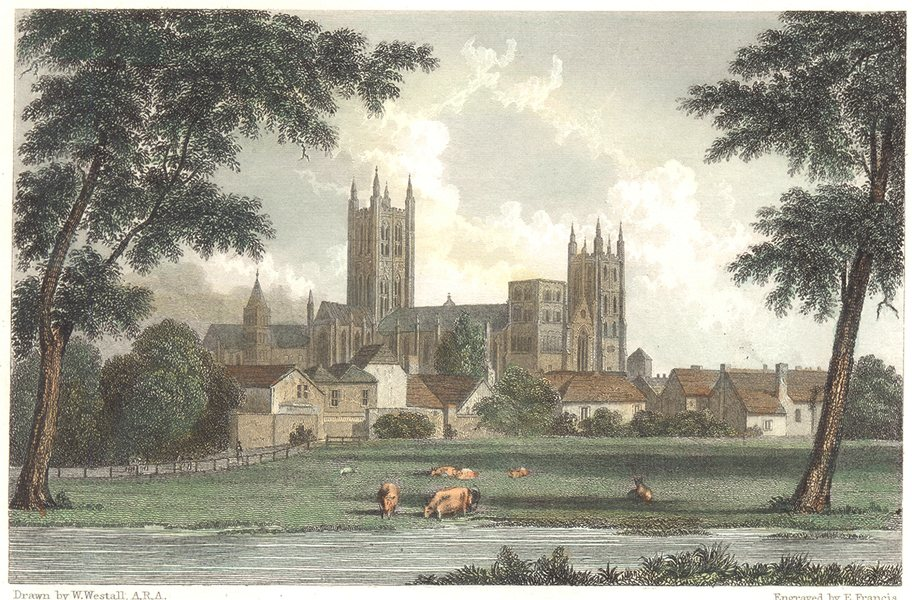 Associate Product KENT. Canterbury from St. Stephen's Road. Hand coloured (Westall) 1830 print