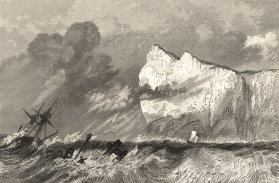 Associate Product KENT. Shakespeare's Cliff, Dover. Sea. Shipwreck. Sargent.  1846 old print