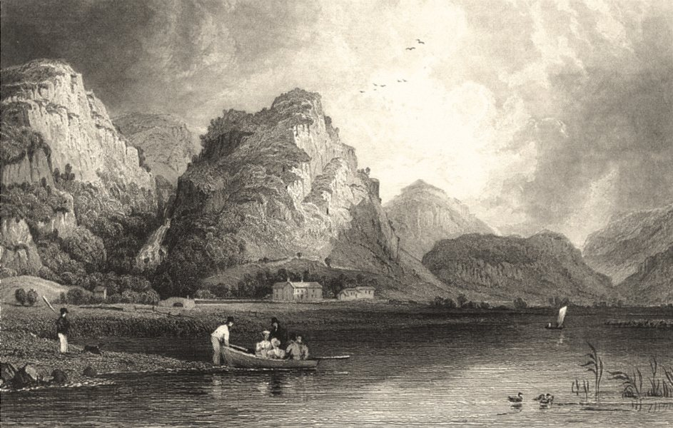 CUMBRIA. Derwent Water and Lodore. Rowing boat. Cumberland (Allom) 1832 print