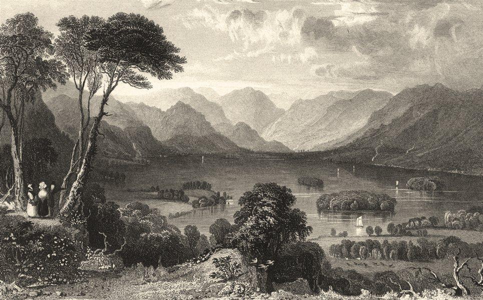Associate Product CUMBRIA. Derwent Water from the Castle Head. Cumberland. (Allom) 1832 print