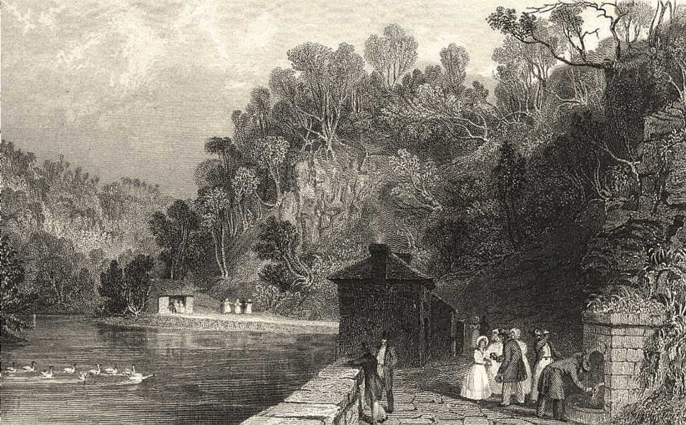 Associate Product CUMBRIA. Gilsland Spa. Figures Drinking. Cumberland. (Allom) 1832 old print