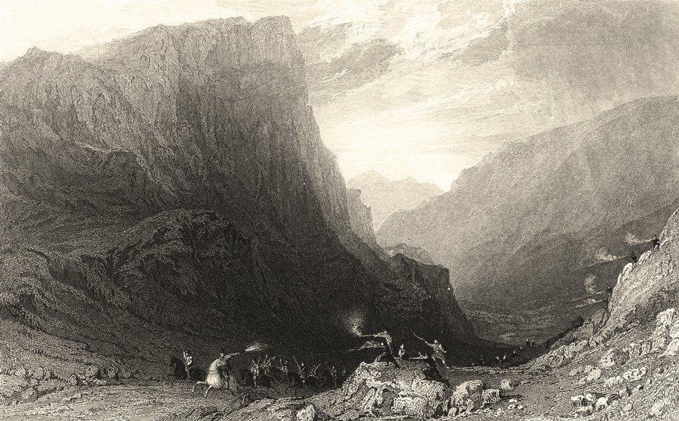 Associate Product CUMBRIA. Honister Crag. Firing Guns. Cumberland. (Allom) 1832 old print