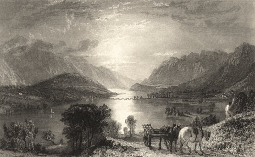 Associate Product CUMBRIA. Thirlmere and Helvellen Etc. From Raven Crag. (Allom) 1832 old print