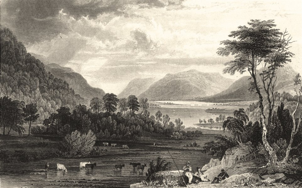 Associate Product CUMBRIA. Thirlemere Wythburn Water. Figures Fishing. Cumbs 1832 old print