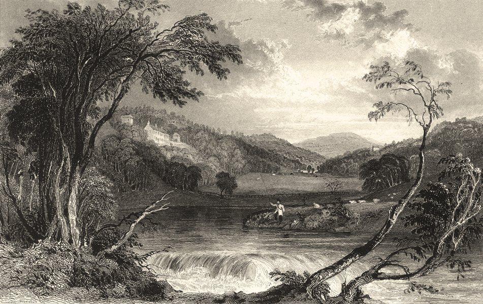 CUMBRIA. Wood Hall near Cockermouth. Fisherman. (Allom) 1832 old antique print