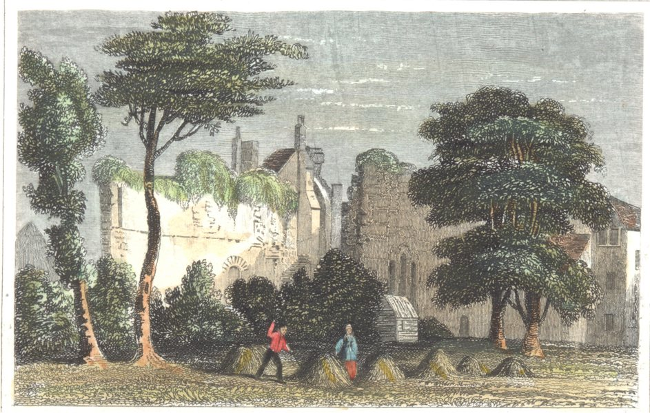 Associate Product SUFFOLK. remains the Monastery. Bury St. Edmund's. (Dugdale) 1835 old print