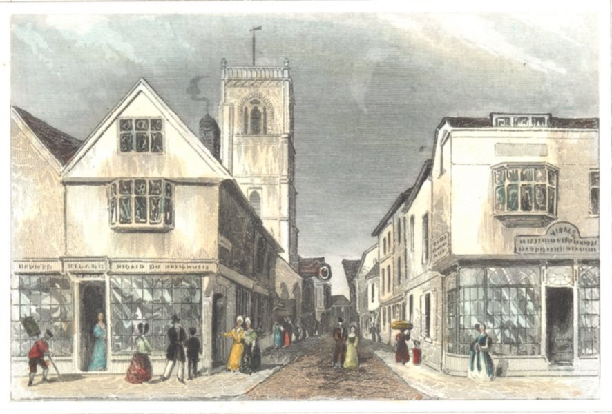 Associate Product SUFFOLK. Ipswich and The Church of St Lawrence. Hand coloured (Dugdale) 1835