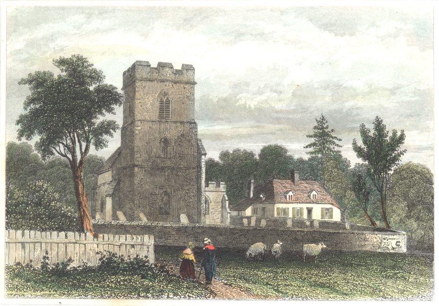 Associate Product SUFFOLK. birthplace Robert Bloomfield. Honington. (Dugdale) 1835 old print