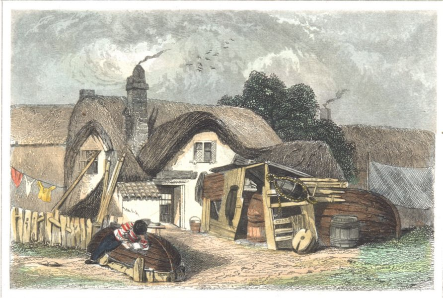 Associate Product SUFFOLK. The House Crabbe Poet born. Aldeburgh. (Dugdale) 1835 old print