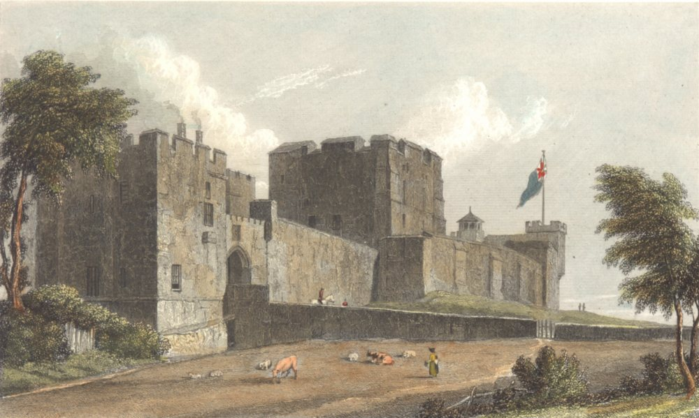 Associate Product CUMBRIA. Cumbs Carlisle Castle. Hand coloured. (Westall) 1830 old print