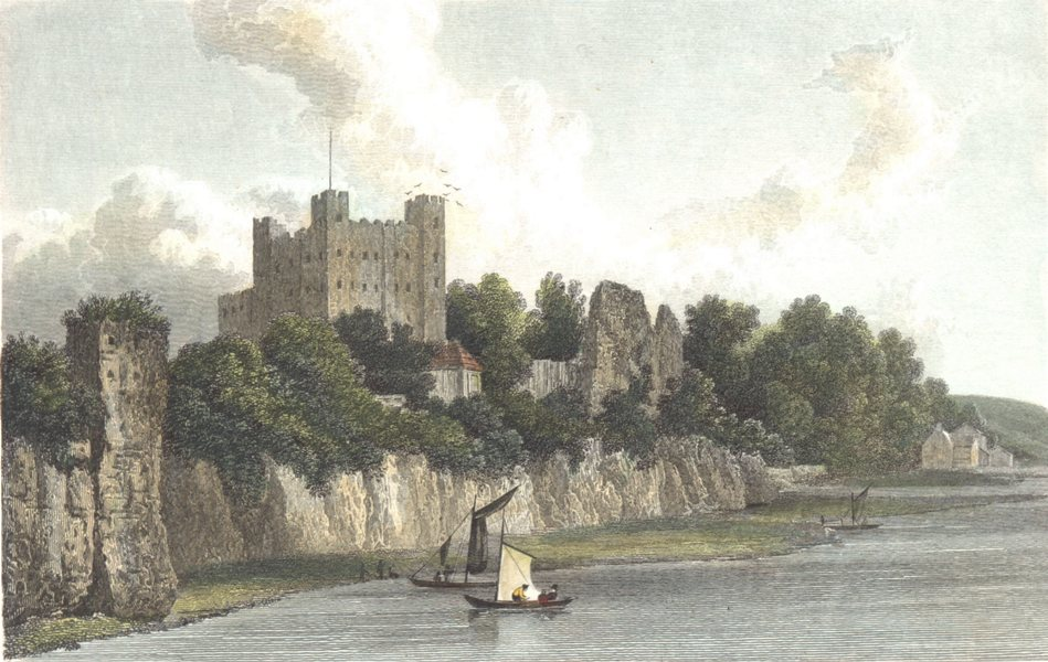 Associate Product KENT. Kent Rochester Castle from the bridge. Hand coloured. (Westall) 1830