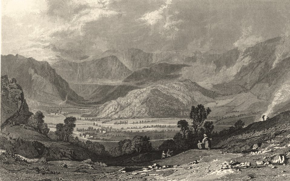 Associate Product CUMBRIA. Cumbs. Rossthwaite. Borrowdale. Road To Watenlath. (Allom) 1832 print