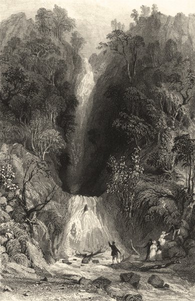 Associate Product CUMBRIA. Cumbs . Scale Force. Waterfall. Figures . Cumbs.  1832 old print