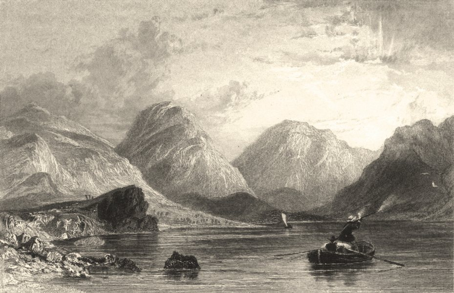 Associate Product WASTWATER. Cumbs . Figures Rowing Boat. Shooting. Cumbs.  1832 old print