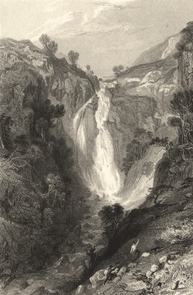Associate Product CUMBRIA. Cumbs . Waterfall neat Sty Head. Figures. Cumbs.  1832 old print