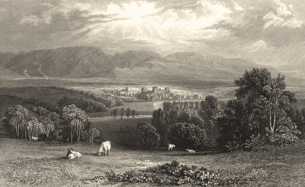 Associate Product CUMBRIA. Cumbs. Cockermouth. cows. Cumberland. (Allom) 1832 old antique print