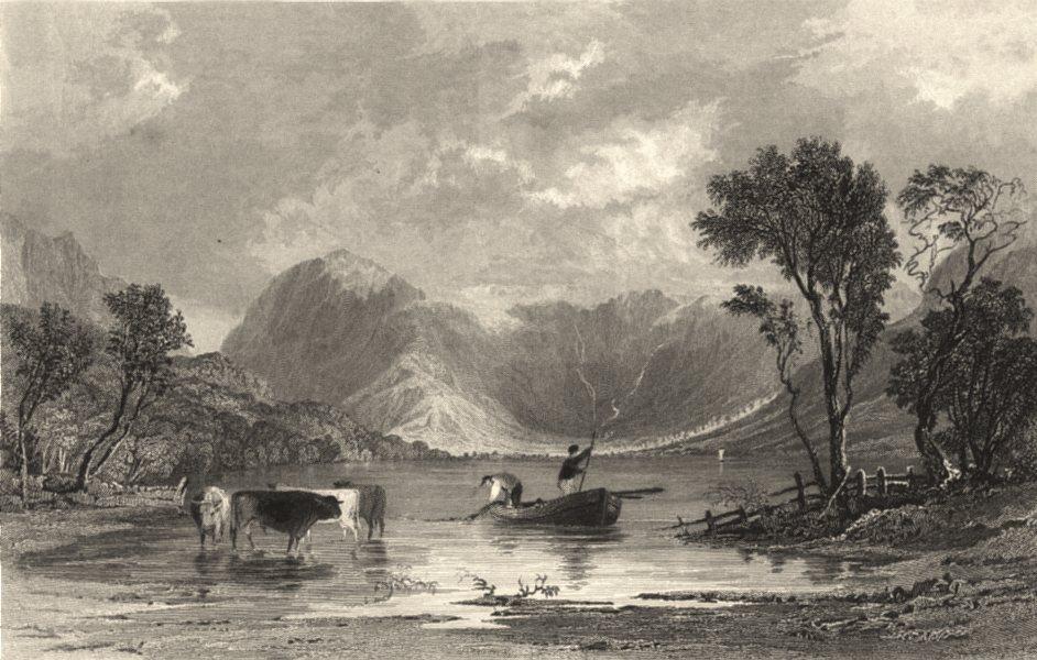 Associate Product CUMBRIA. Cumbs. Buttermere. Boat & cows in Water. Cumberland. (Allom) 1832