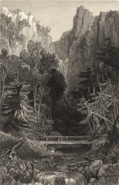 Associate Product CUMBRIA. Cumbs . Birker Force. Stream. Hills. bridge. Cumbs.  1832 old print