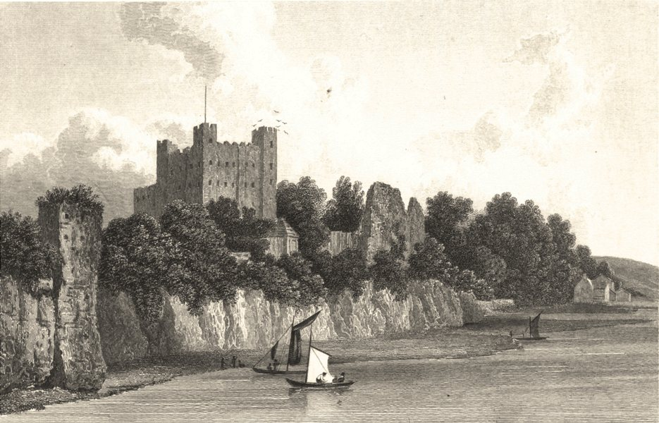 Associate Product KENT. Rochester Castle from the Bridge (Westall) 1830 old antique print