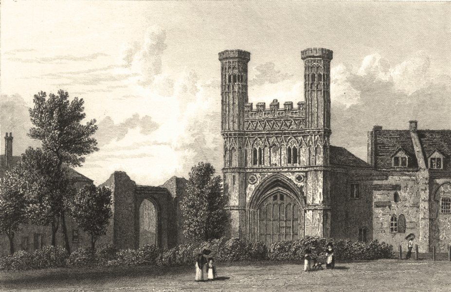 Associate Product KENT. Canterbury, Gate of St Augustine's (Westall) 1830 old antique print