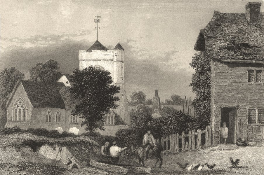 Associate Product SURREY. Leatherhead Church. Henshall Figures Poultry . Allen 1840 old print