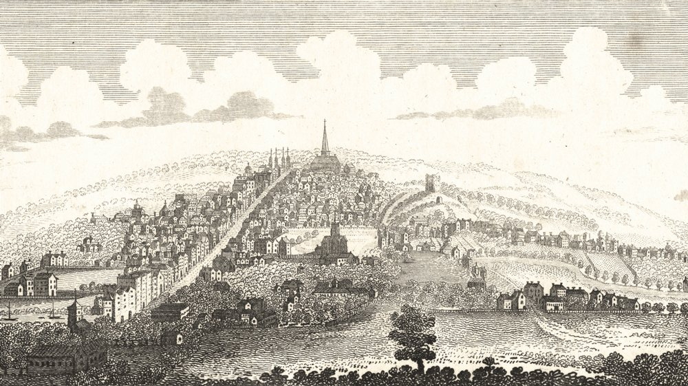 Associate Product SURREY. The South West view of Guildford. Lackington. Copperplate. 1804 print