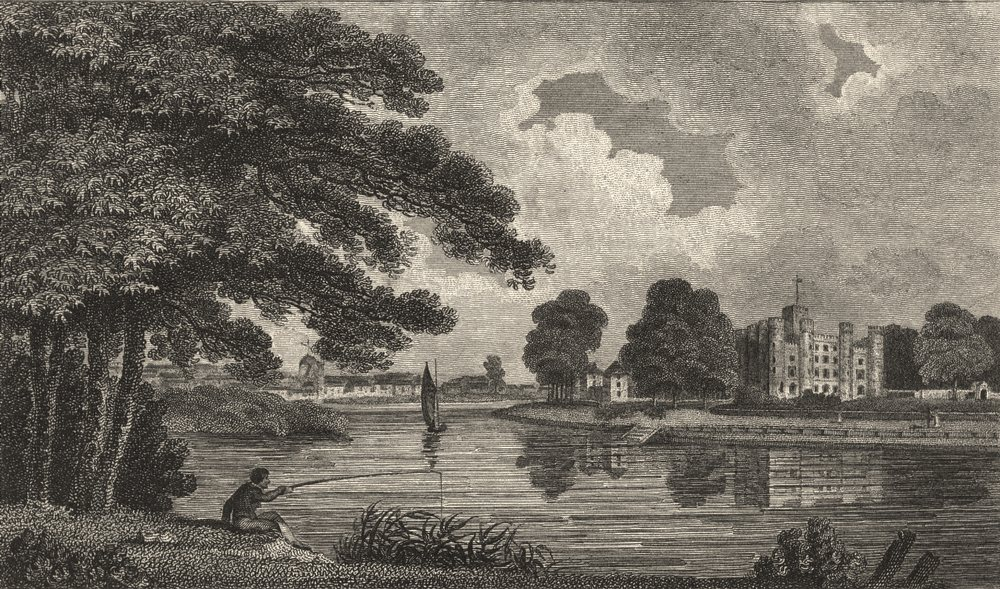Associate Product LONDON. Surrey. Kew. Hugshon. King's Palace. river. Fisherman. Kings 1808