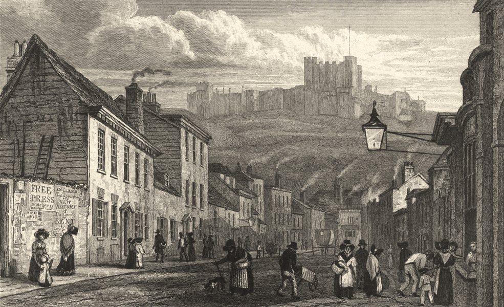 Associate Product KENT. St. James Street, Dover. Many figures. Castle. 1830 old antique print