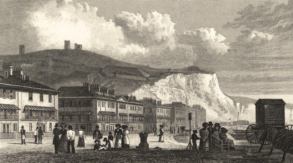 Associate Product KENT. Dover. Marine Parade / Caesar's Tower. Figures (Shepherd) 1830 old print