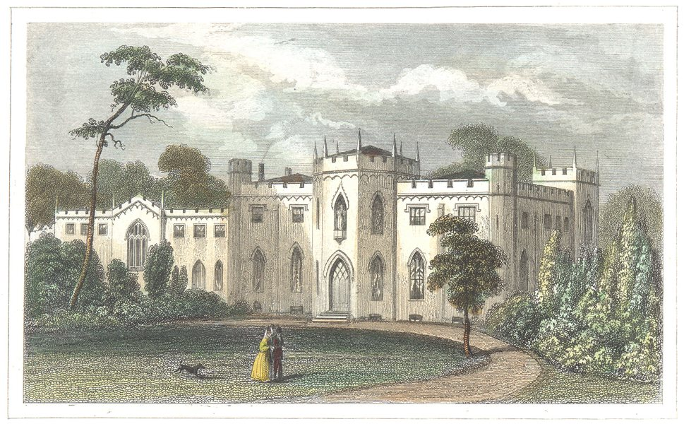 Associate Product LONDON. Surrey. Roehampton Priory. Hand coloured (Dugdale) 1835 old print