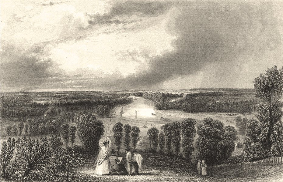 Associate Product SURREY. Richmond. Henshall. view along Thames. Figures. c.  1840 old print