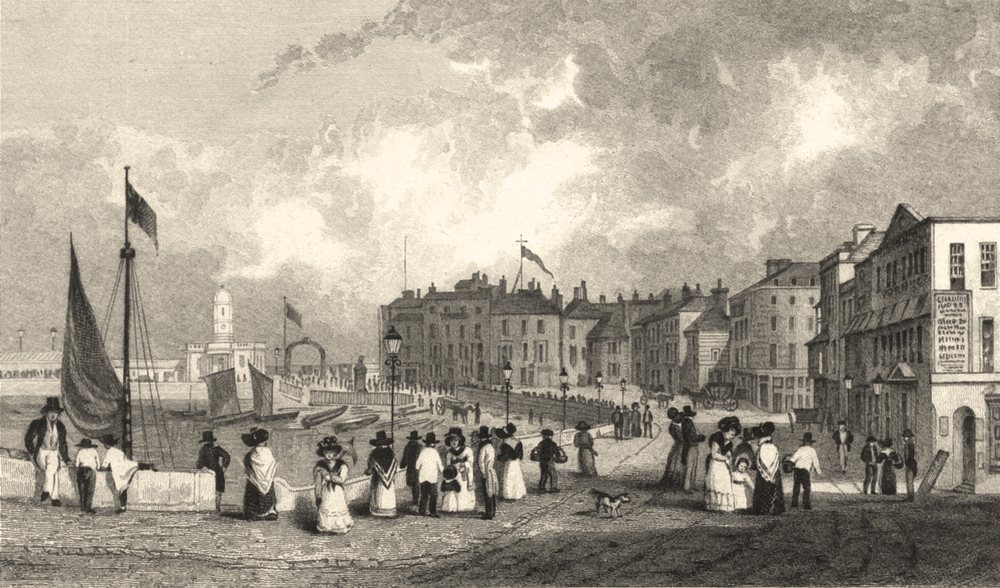 Associate Product KENT. The Marine Parade and new Drott house Margate 1830 old antique print