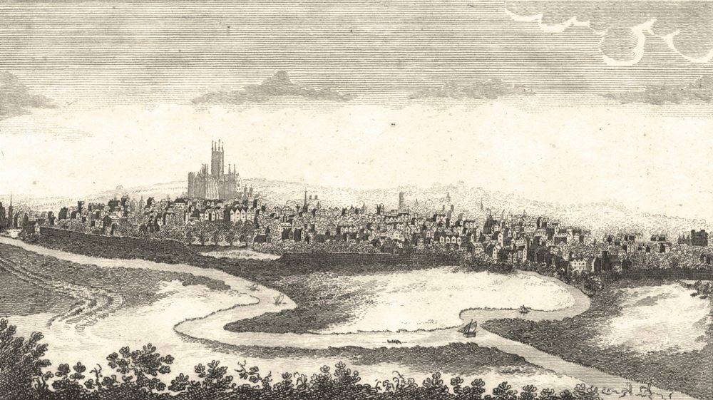 Associate Product KENT. Copperplate. Prospect of Canterbury. The south west 1804 old print