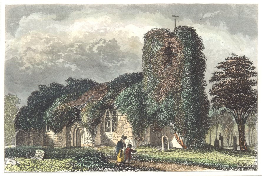 Associate Product LONDON. Essex. Chingford Church. Hand coloured (Dugdale) 1835 old print