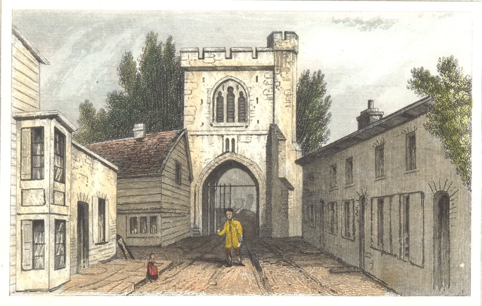 Associate Product LONDON. Essex. An ancient gateway. Barking. Hand coloured (Dugdale) 1835 print
