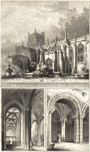 Associate Product BRISTOL. Bristol Cathedral North Aisle; Vestibule to Chapter House 1860 print