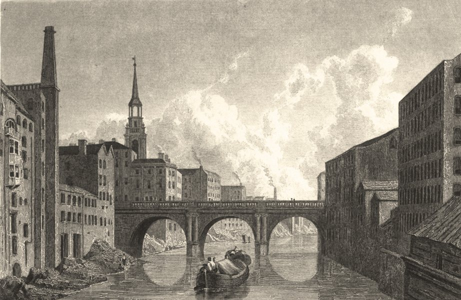 Associate Product MANCHESTER. Blackfriars Bridge, Manchester. (Finden/Westall) 1834 old print