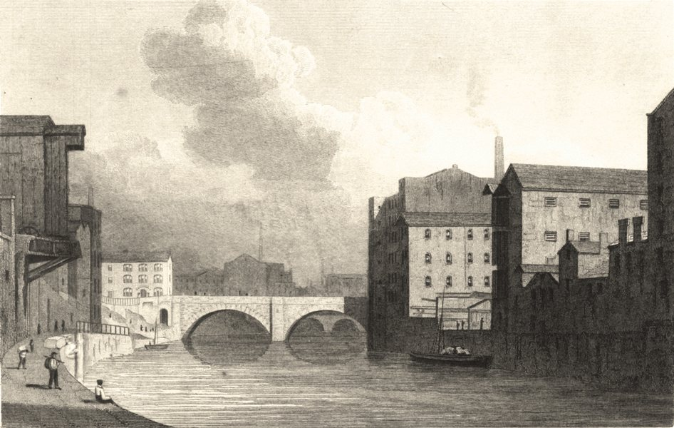 Associate Product MANCHESTER. New Bailey Bridge, Manchester (Westall) 1834 old antique print