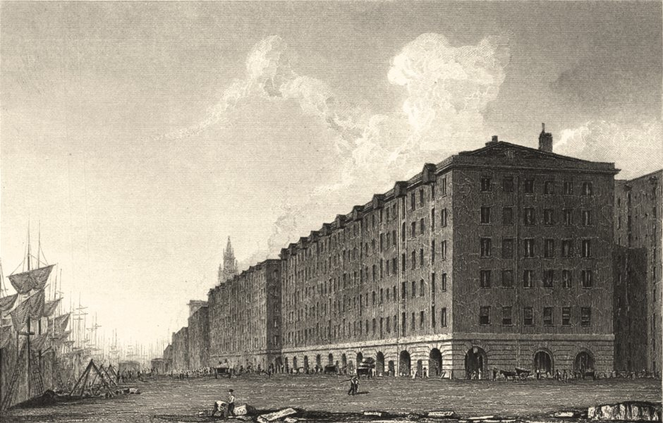 Associate Product LIVERPOOL. Goree Buildings, Liverpool. (Finden/Westall) 1834 old antique print