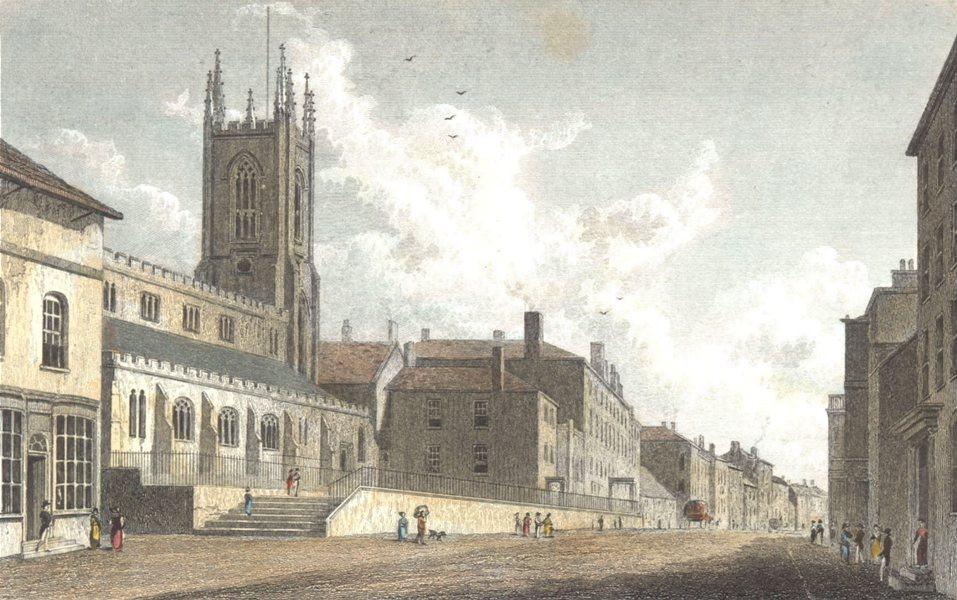 Associate Product LANCASHIRE. Preston Hand coloured. (Finden/Westall) 1830 old antique print