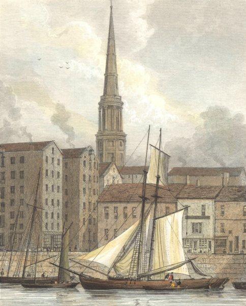 LIVERPOOL. St. George's Church Docks. (Finden/Westall) 1830 old antique print