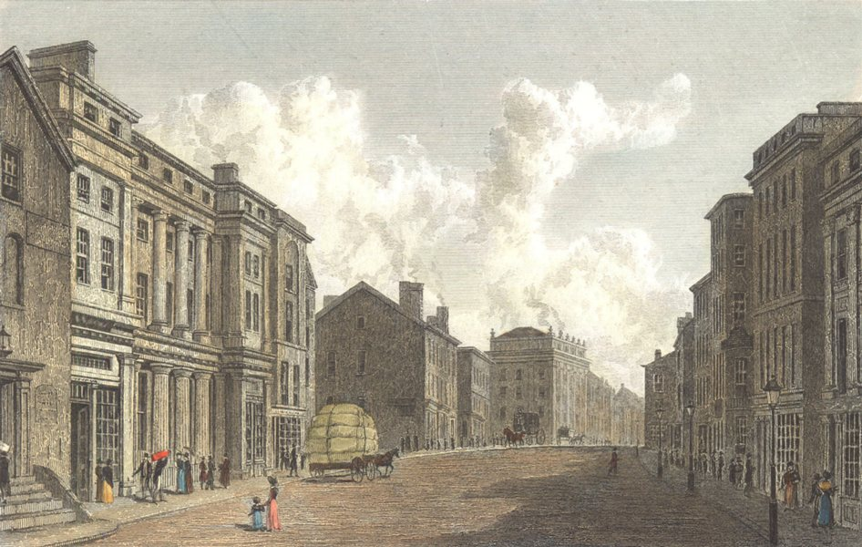 Associate Product MANCHESTER. Manchester. Street scene. Hand coloured. (Westall) c1833 old print