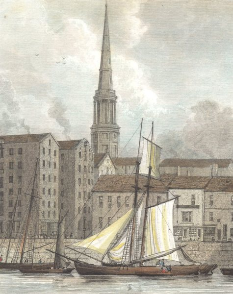 LIVERPOOL. St. George's Church. Docks. (Finden/Westall) c1833 old print