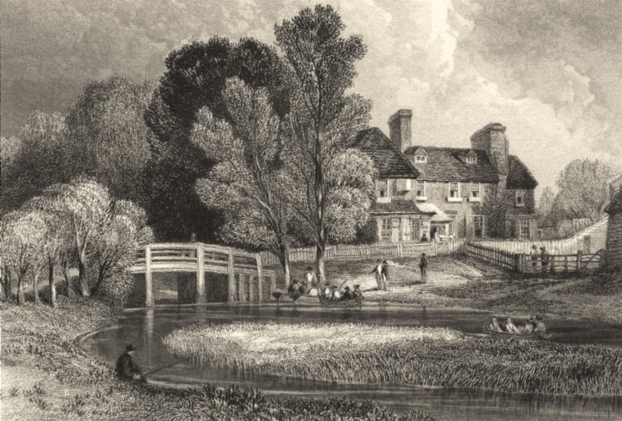 ESSEX. Hillyer bridge river Lea. Henshall. Fishermen.  1840 old antique print
