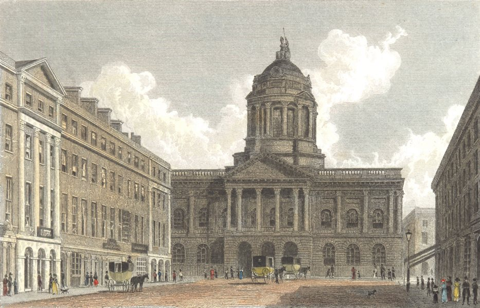Associate Product LIVERPOOL. Town Hall and Mansion House. Liverpool. Hand coloured 1835 print