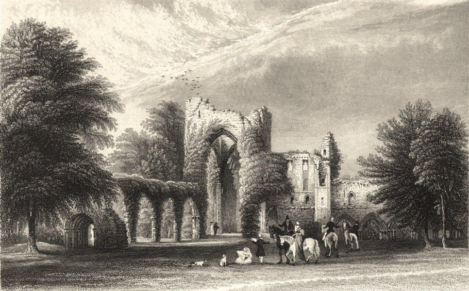 Associate Product CUMBRIA. Cumbs . Calder Abbey. ruins. Figures Horses. Cumbs 1832 old print