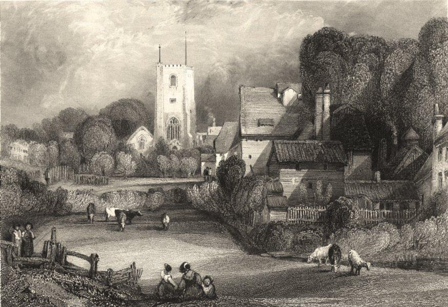 Associate Product LONDON. Essex. Barking Church. Henshall. Figures. Steel engraving 1840 print