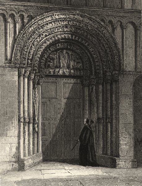 Associate Product KENT. Rochester Cathedral, West door Way. (Winkles) 1860 old antique print