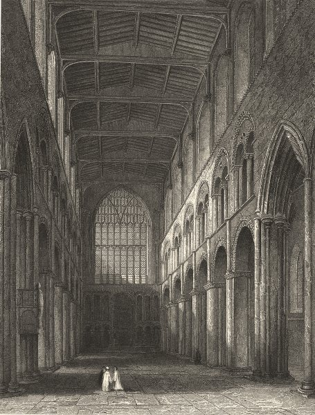 Associate Product KENT. Rochester Cathedral, View of the Nave 1860 old antique print picture